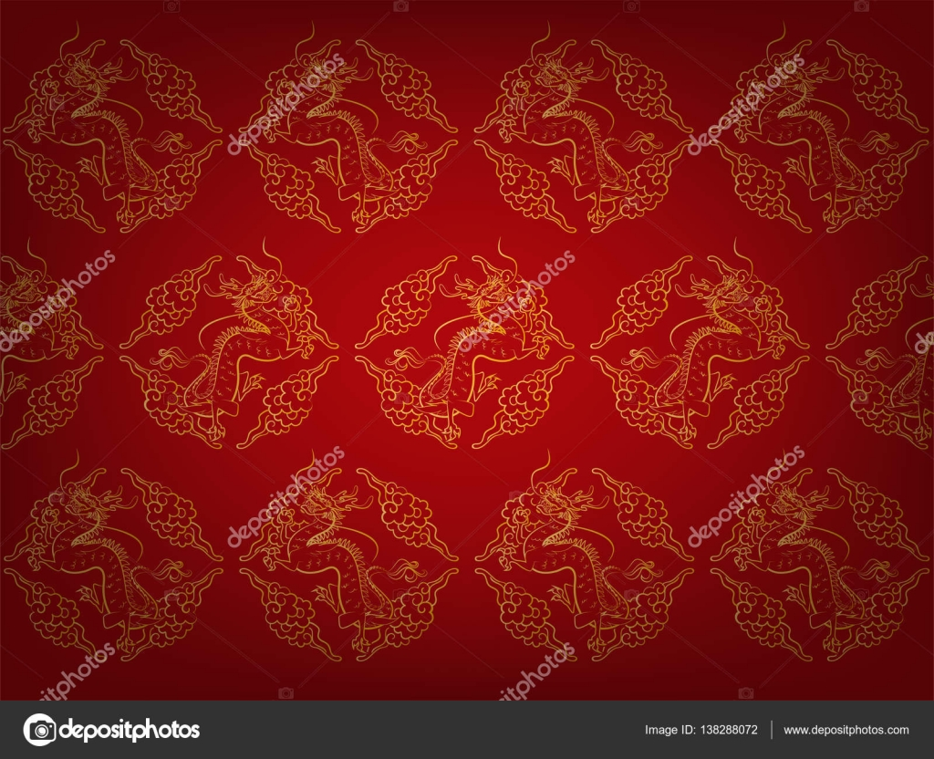 Illustration Vector Fragment Of Red Chinese Pattern Texture Style Wallpaper With Golden Dragons And Cloud Dragon