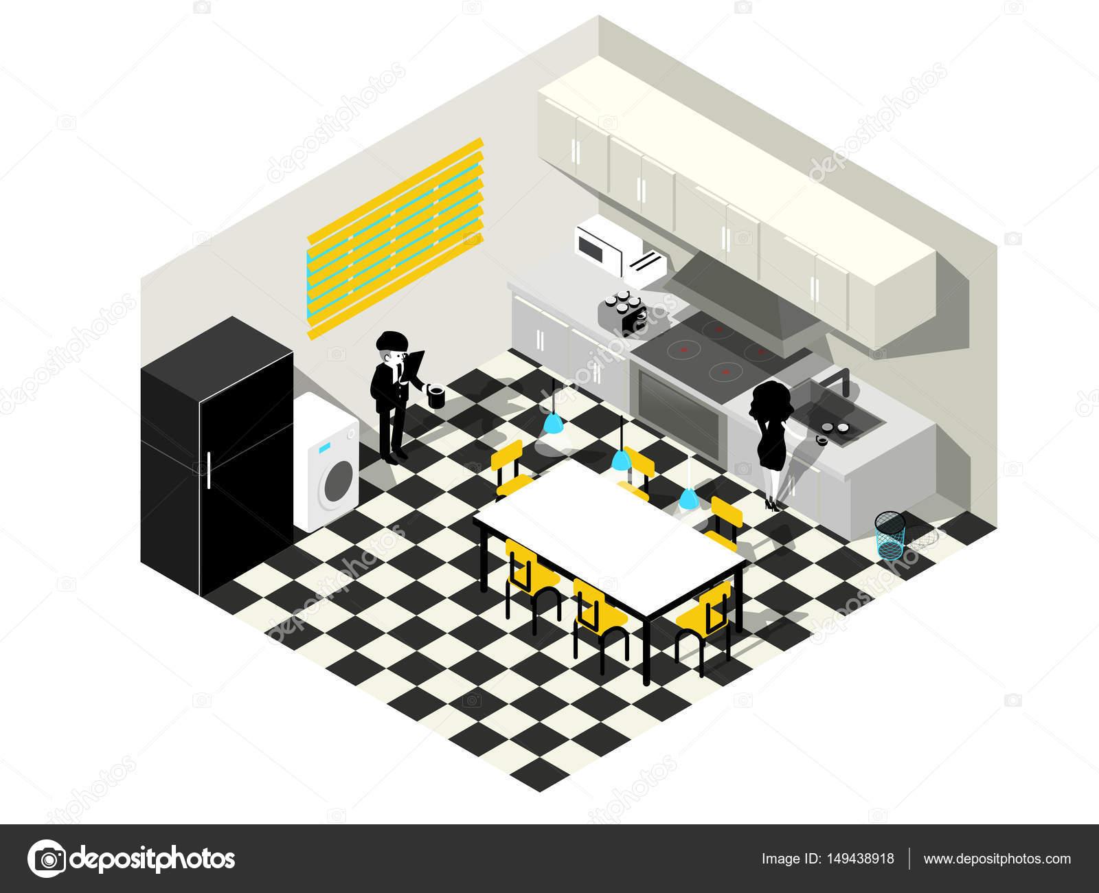 Vector ilustración isométrica de pareja en la cocina junto. concepto ...