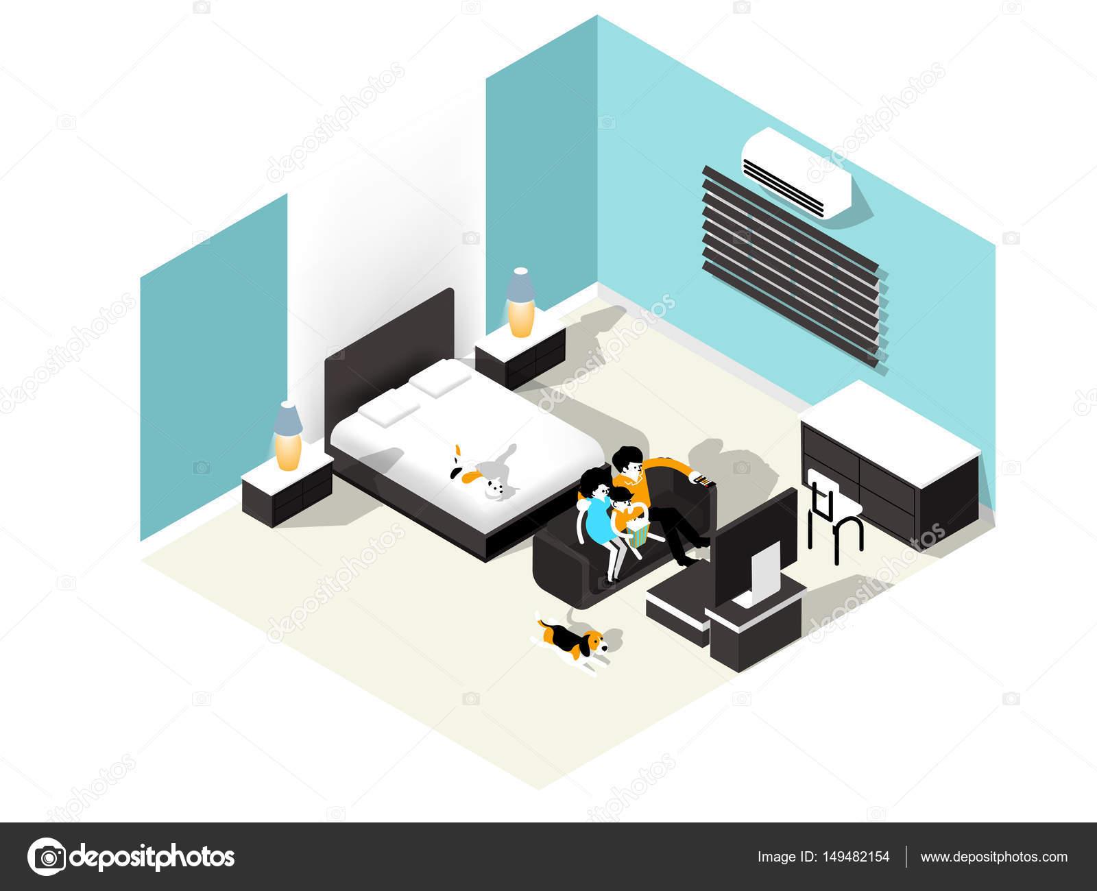 Tv In Slaapkamer : Tv planken en een kast onder tv in de slaapkamer stock illustratie