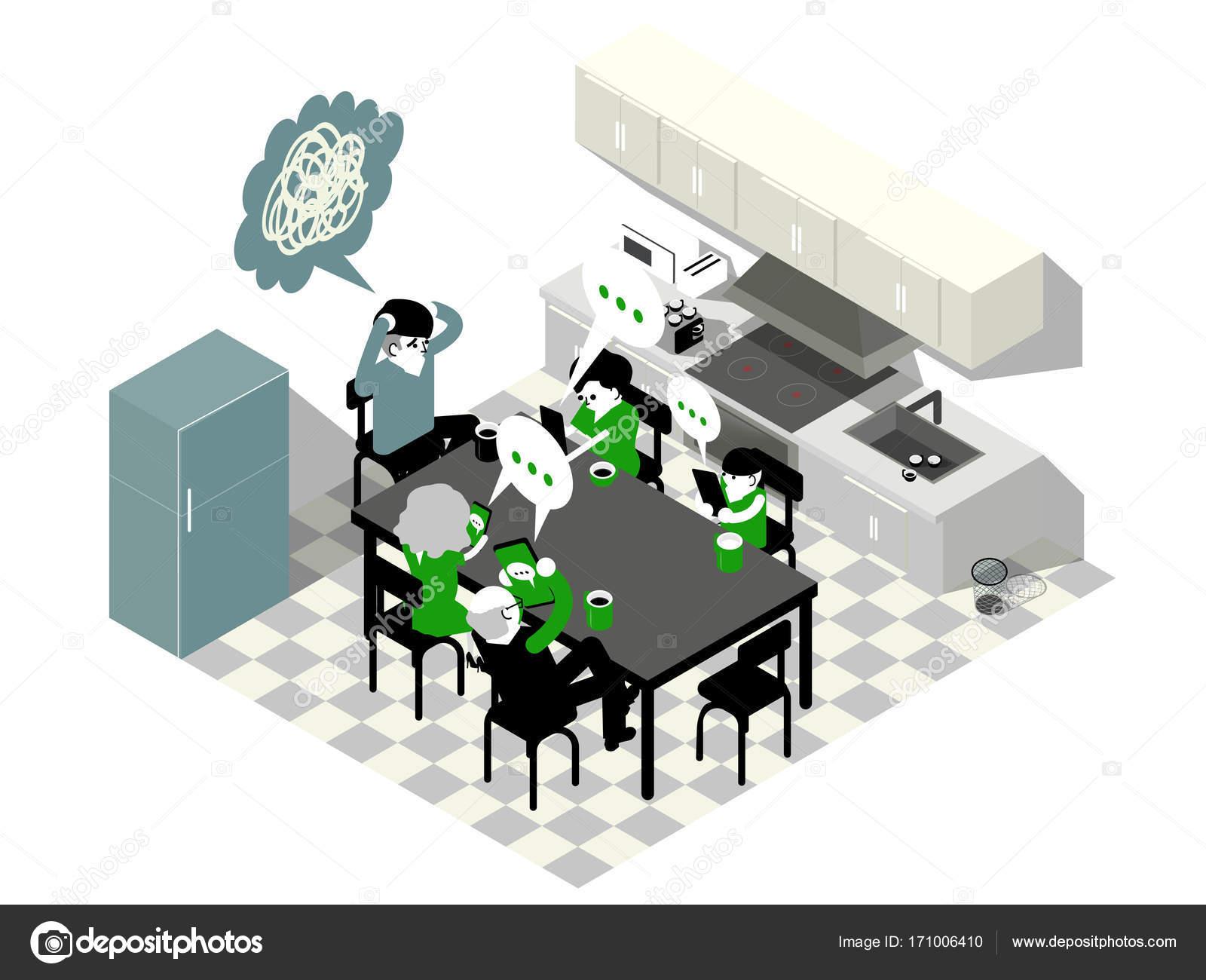 isometrische Darstellung Vektor-Grafik-Design der Familie mit ...