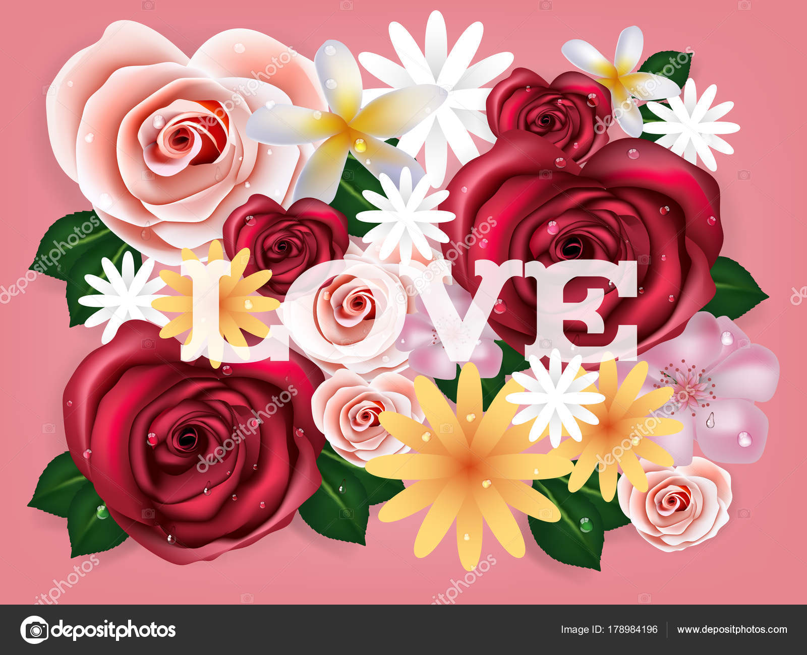 Illustration Vector Realistics Beautiful Rose Flowers Background