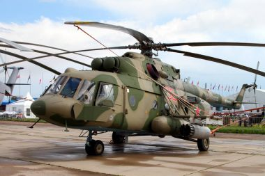 Military Helicopter Mi-8 at the International Aviation and Space