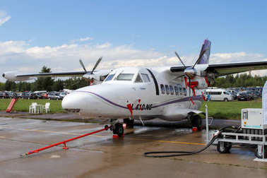 Twin-engine turboprop aircraft L-410 at the International Aviati