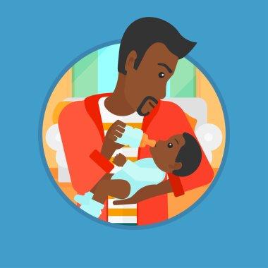 Father feeding baby vector illustration.