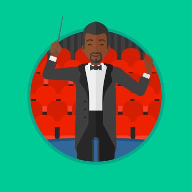 Conductor directing with baton vector illustration