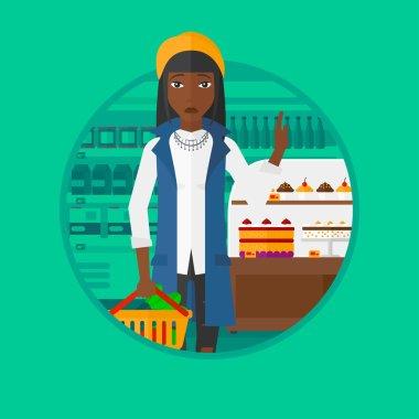 Woman refusing junk food vector illustration.