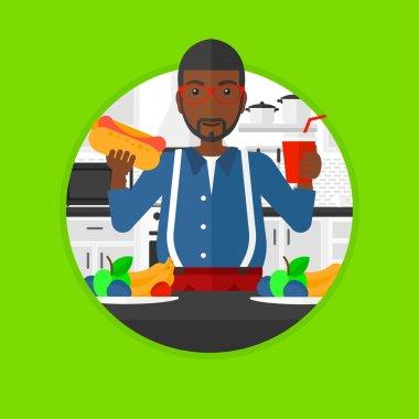 Man eating fast food vector illustration.