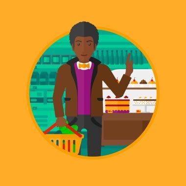 Man refusing junk food vector illustration.