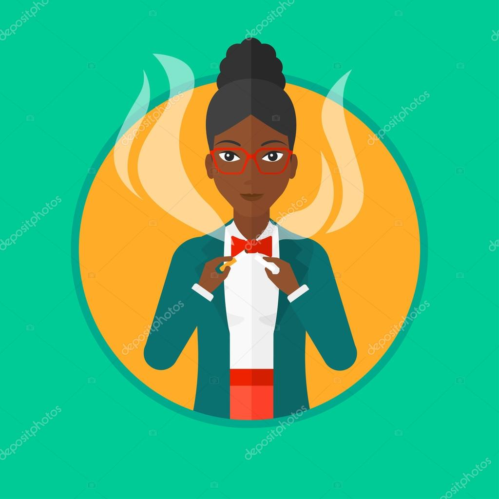 Woman crushing cigarette. Woman holding broken cigarette. Quit smoking  concept. Vector flat design illustration in the circle isolated on  background. e87ff2c2a8cb6