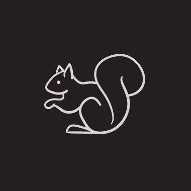 Squirrel sketch icon.