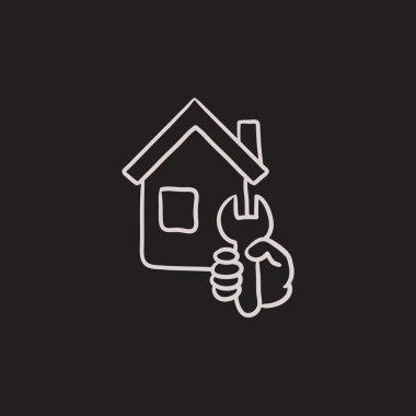 House repair sketch icon.