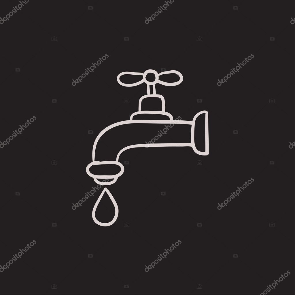 Dripping tap with drop sketch icon.
