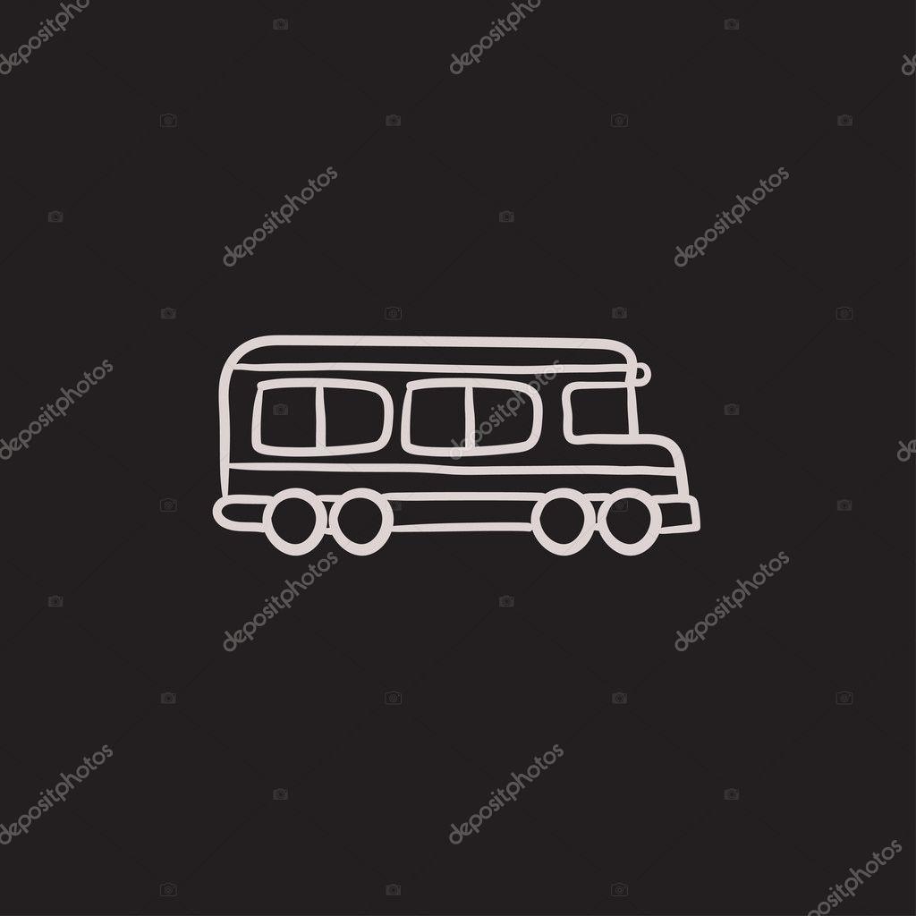Schulbus-Skizze-Symbol — Stockvektor © rastudio #125337068