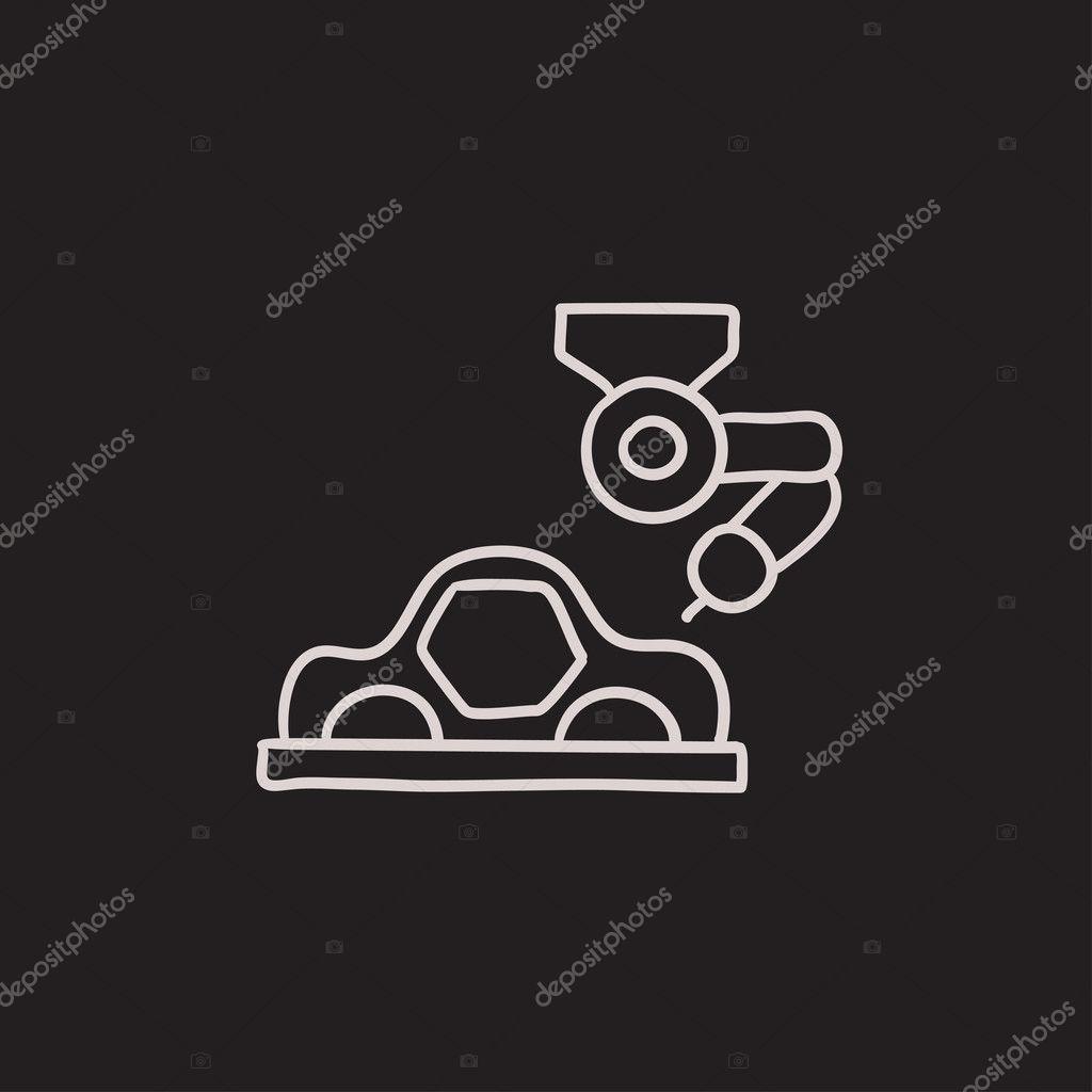 Auto-Produktion-Skizze-Symbol — Stockvektor © rastudio #125349086