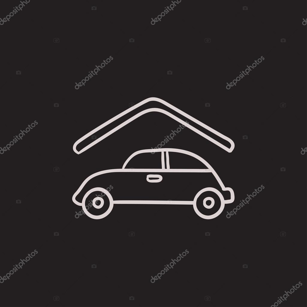 Auto-Garage-Skizze-Symbol — Stockvektor © rastudio #125361888
