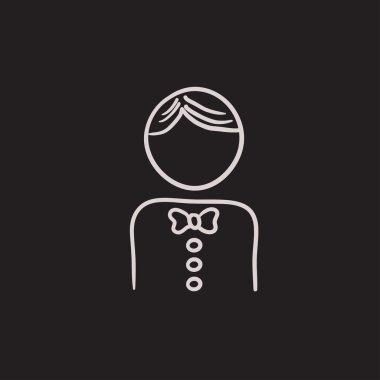 Waiter sketch icon.