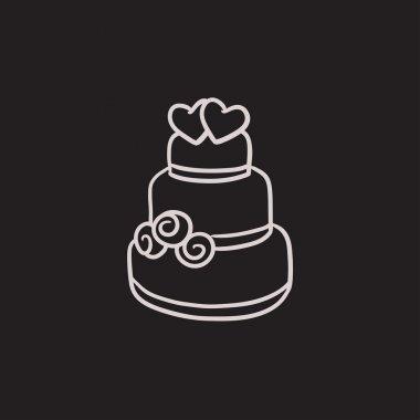 Wedding cake sketch icon.