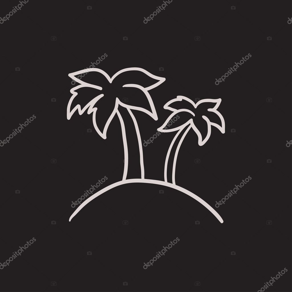 Two palm trees on island sketch icon.