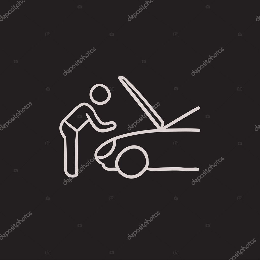 Mann Befestigung Auto Skizze-Symbol — Stockvektor © rastudio #125375948