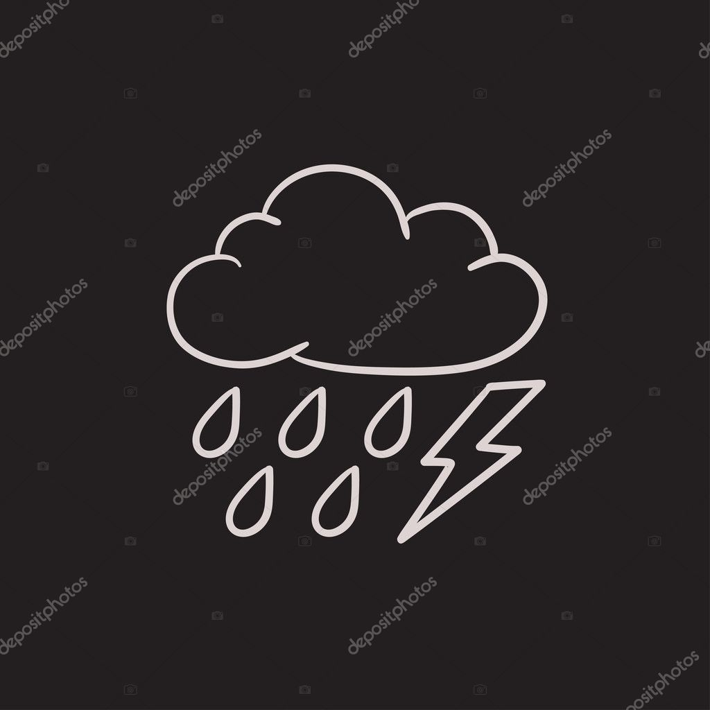 Cloud With Rain And Lightning Bolt Sketch Icon Stock Vector C Visualgeneration 125376332