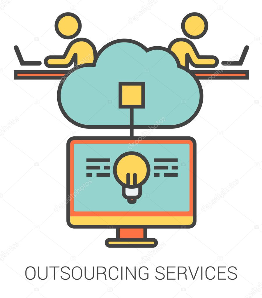 Outsourcing services line icons.