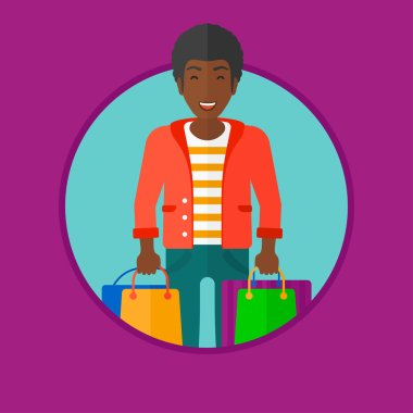 Happy man with shopping bags vector illustration.