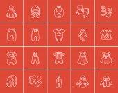 Fényképek Bébi ruhák vázlat ikon készlet