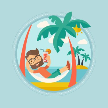 Man chilling in hammock vector illustration.