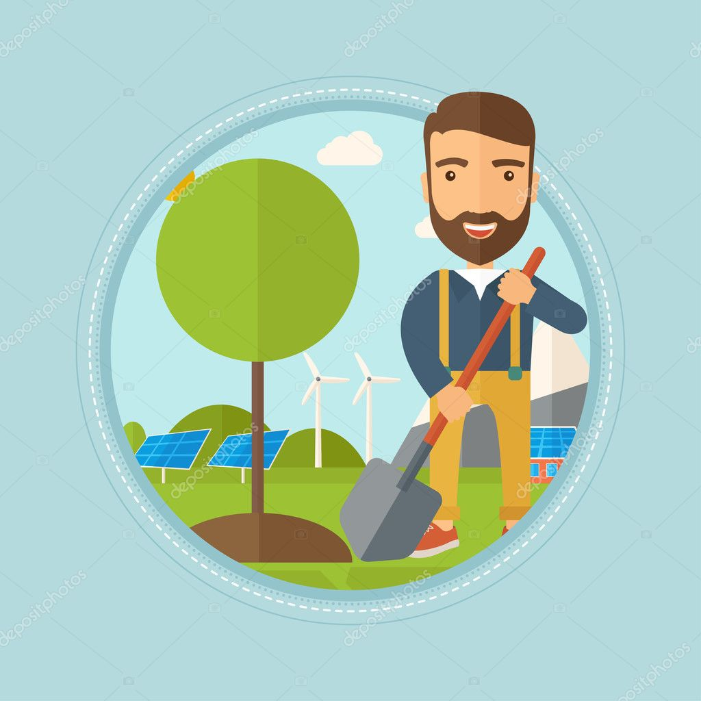 Man plants tree vector illustration.