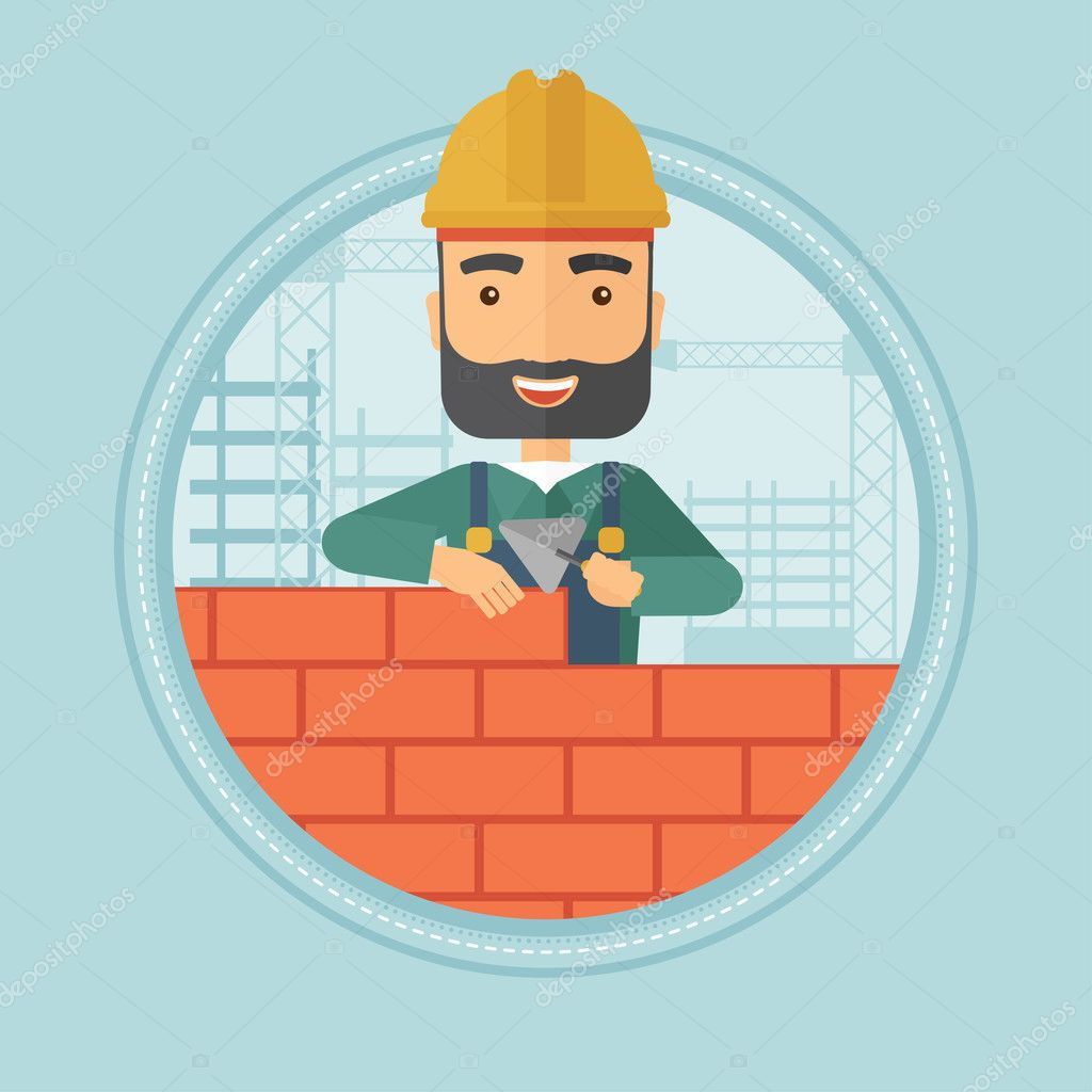 Bricklayer Working With A Spatula And Brick In Hands On Construction Site Vector Flat Design Illustration The Circle Isolated Background