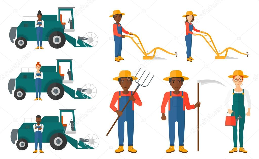 Set of agricultural illustrations with farmers.