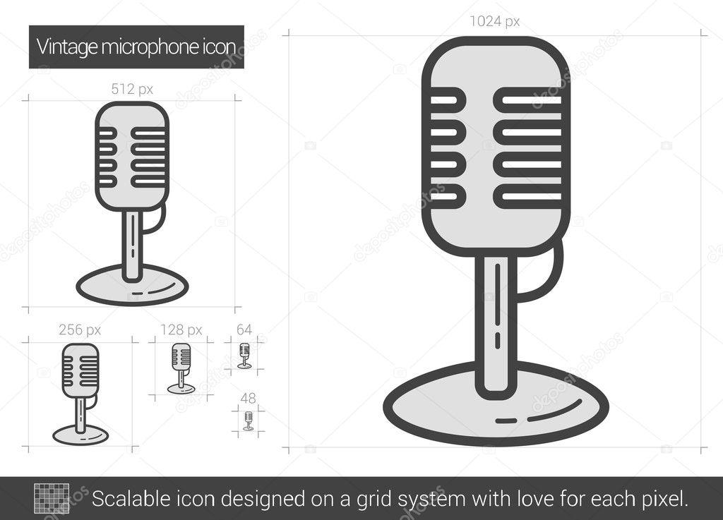 Vintage Linie Mikrofonsymbol — Stockvektor © rastudio #127714902