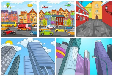 Vector cartoon set of city backgrounds.
