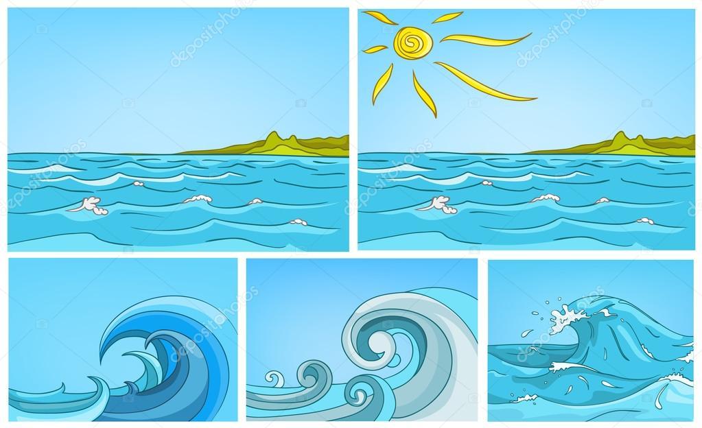 Conjunto De Dibujos Animados Vector De Fondo De Mar