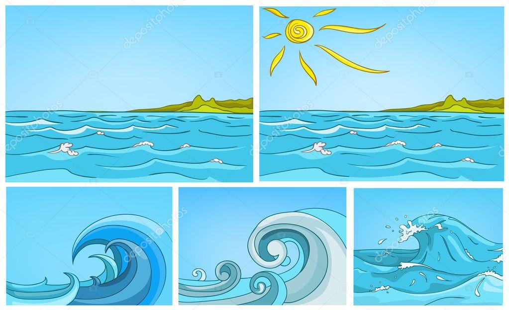 Vector cartoon set of sea backgrounds.