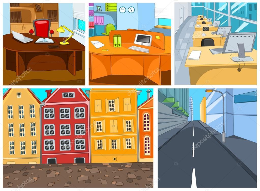 Conjunto de dibujos animados vectores fondos la