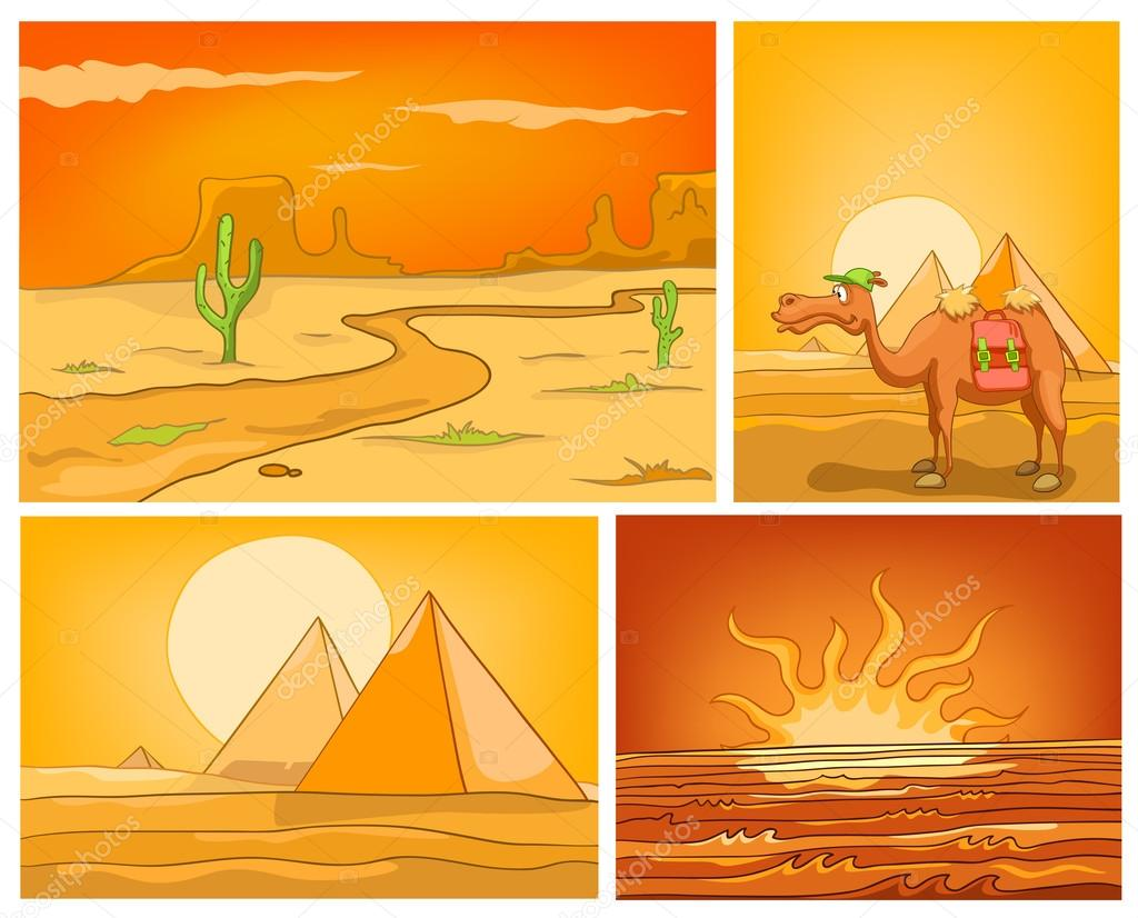 Vector cartoon set of desert backgrounds.