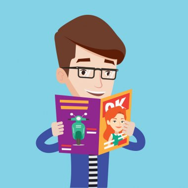 Man reading magazine vector illustration.