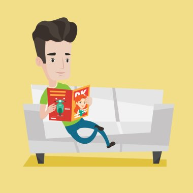 Man reading magazine on sofa vector illustration.