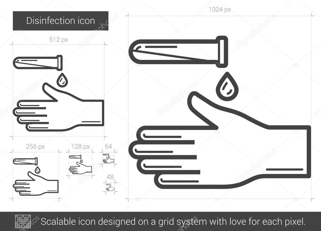 Disinfection line icon.