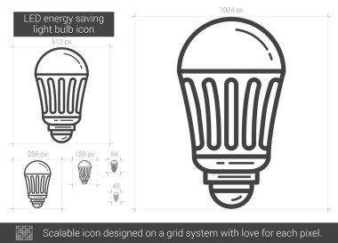 LED energy saving light bulb line icon.