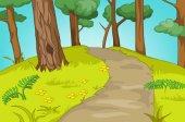 Fotografia Priorità bassa del fumetto di paesaggio della foresta