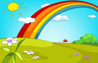 Cartoon background of summer glade with rainbow.
