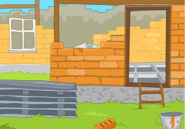 Cartoon background of rural house construction.