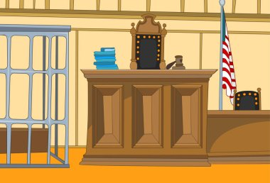 Cartoon background of courtroom.