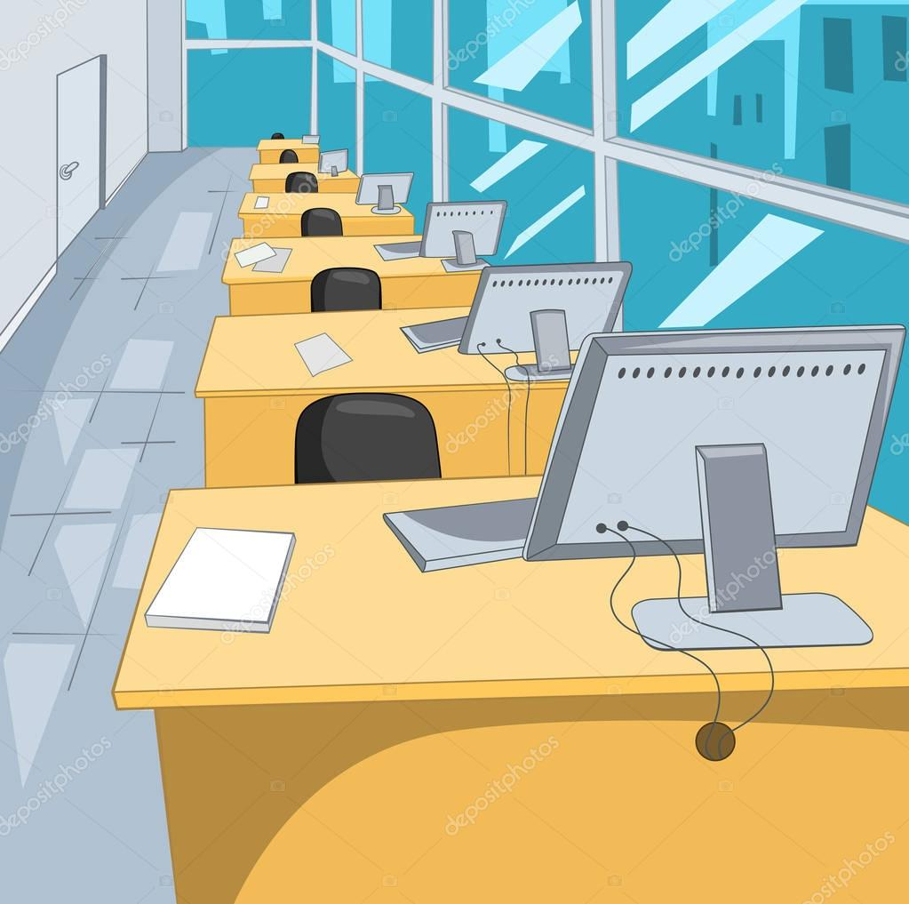Cartoon Background Of Workplace At Office Stock Photo Rastudio