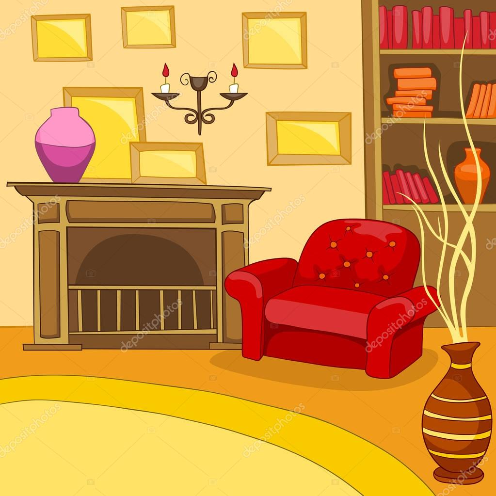 Cartoon background of vintage living room interior stock for Sala de estar animada