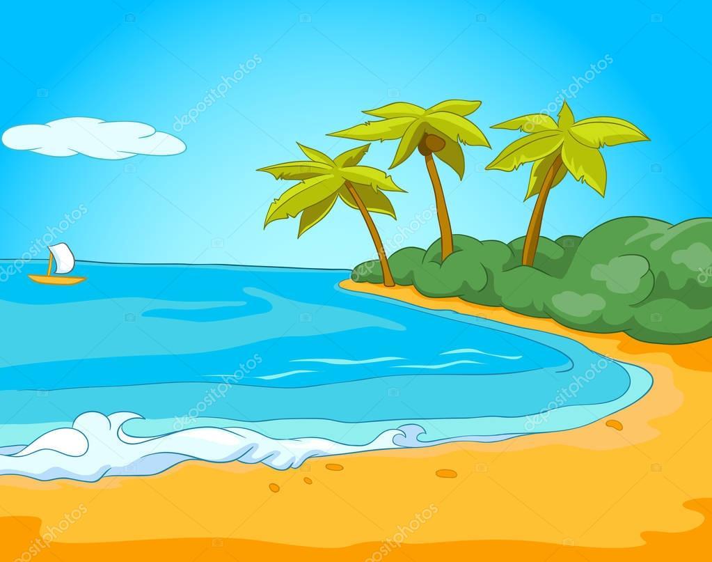Fondo De Dibujos Animados De Playa Y Mar