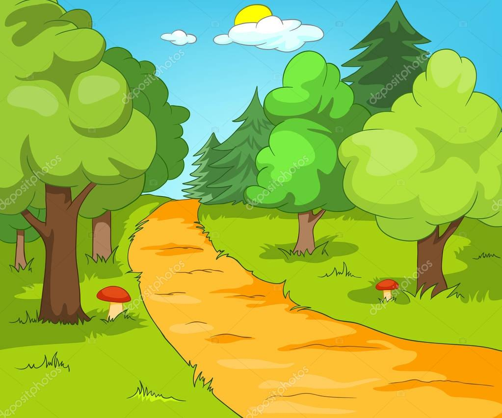 Fondo de dibujos animados paisaje forestal — foto