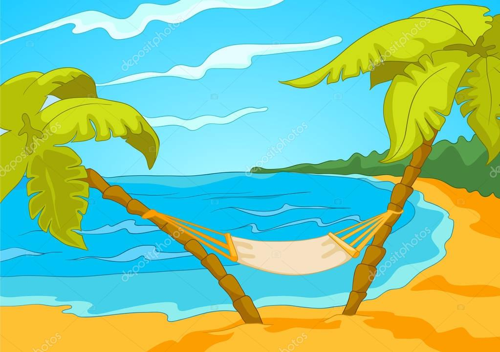 Cartoon background of tropical beach and sea. — Stock ...
